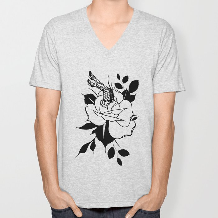 Rose with Pinup Legs Unisex V-Neck