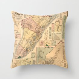 Map Of Cape May 1872 Throw Pillow