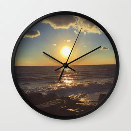 Cape May Jetty Sunset Wall Clock