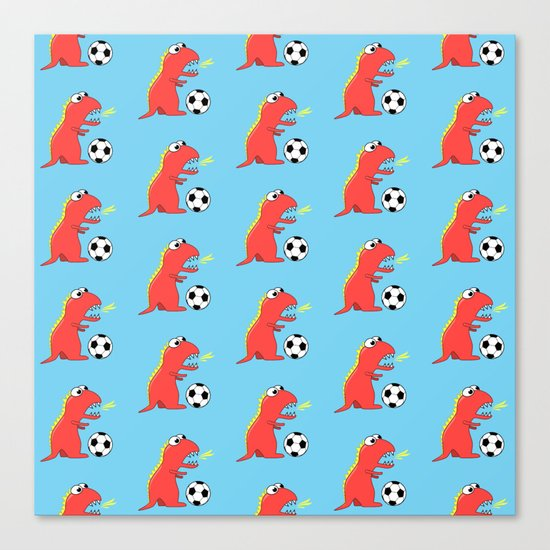 Blue Cartoon Dinosaur Soccer Pattern Canvas Print
