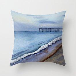 Virginia Beach at Night Fall  Throw Pillow