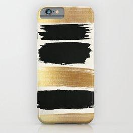 Brush Strokes (Black/Gold) iPhone Case