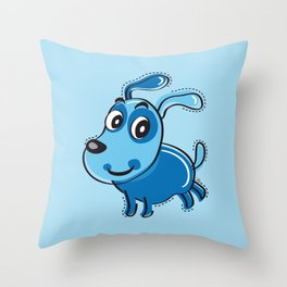 Happy Blue Dog Smilling Throw Pillow
