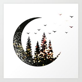 Half Moon forest Art Print