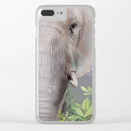 Foraging Elephant Clear iPhone Case