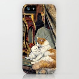 Clock, Mother Cat And Kitten - Digital Remastered Edition iPhone Case