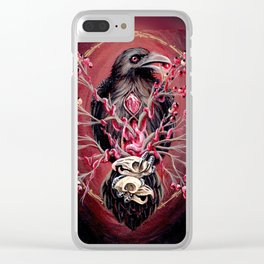 Black Raven Bird with Mice Skulls and Fruit Clear iPhone Case