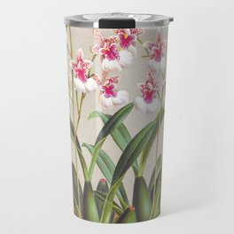 Dainty Pink White Orchids Vintage Oncidium Phalaenopsis Travel Mug