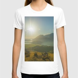 lake wanaka covered in blue colors new zealand beauties and mountains at sunrise person T-shirt