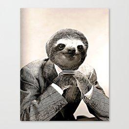 Gentleman Sloth in Smart Posture Canvas Print