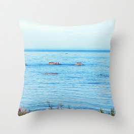 Bird Filled Rocks and a Whale Throw Pillow