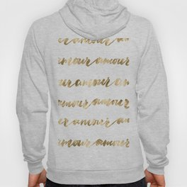 Amour French Love Script Gold Typography Pattern Hoody