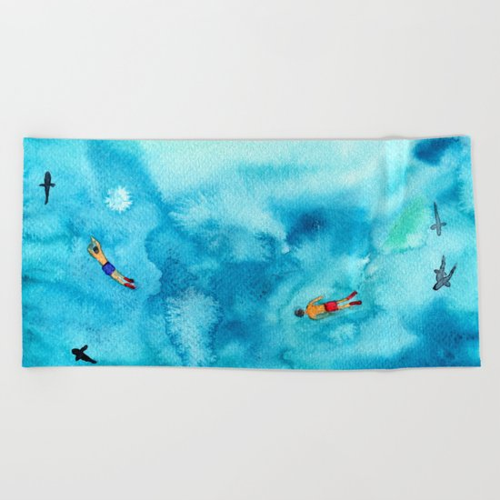 One summer day || watercolor Beach Towel