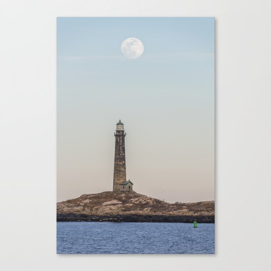 Pink Moon over Thacher island Canvas Print