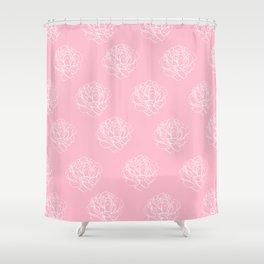 Pink Pastel Peony Pattern Shower Curtain