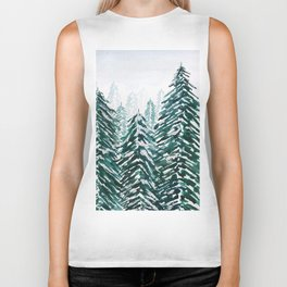snowy pine forest in green Biker Tank