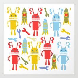 Robots pattern F4 Art Print