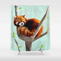 red panda Shower Curtains featuring Red Panda by Whitney Silva