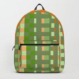orange green checkered pattern Backpack