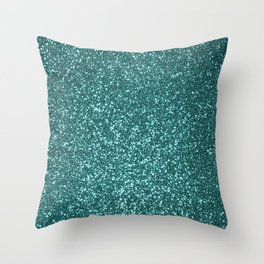 Sparkly Aqua Blue Turquoise Glitter Throw Pillow