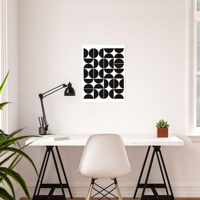 Mid Century Modern Geometric 04 Black Poster