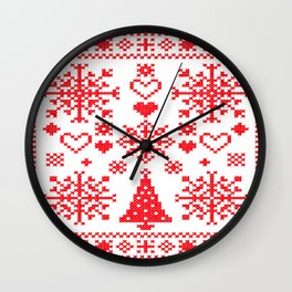 Christmas Cross Stitch Embroidery Sampler Red And White Wall Clock
