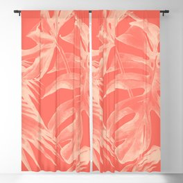 Living Coral Tropical Palm Leaves Monstera Blackout Curtain