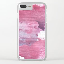 Pale violet red abstract watercolor Clear iPhone Case