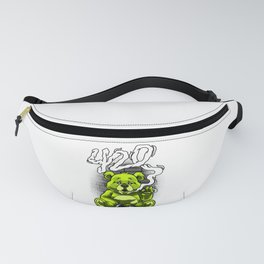 Smoking Teddy Weed Cannabis 420 Stoner Stoned Gift Fanny Pack