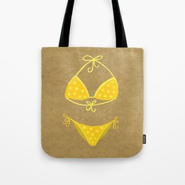 Yellow Polka Dot Bikini on Kraft Tote Bag