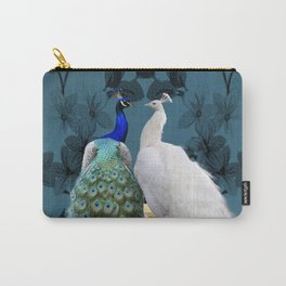 White Peacock and Blue Peacock Bird A732 Carry-All Pouch