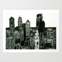 Black and White Philly Skyline Art Print