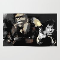 han solo Area & Throw Rugs featuring Han Solo & Chewbacca by Berta Merlotte
