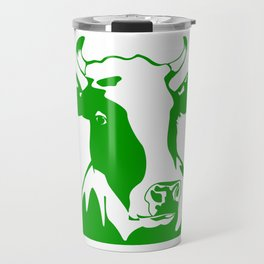 Animal Art Green Cow Travel Mug