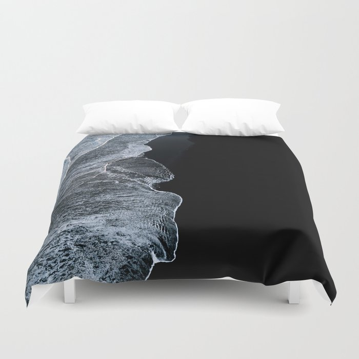 Waves on a black sand beach in iceland - minimalist Landscape Photography Duvet Cover