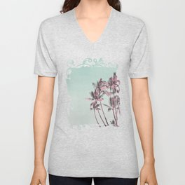 Tropical Palm Trees In Surreal Pink Unisex V-Neck
