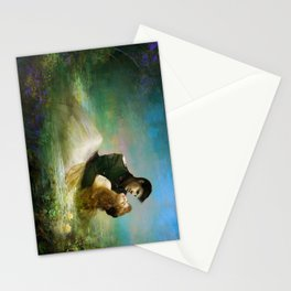 Love me tender - Sad couple in loving embrase in the lake Stationery Cards