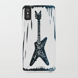 Dimebag Darrell's (PANTERA) Dean ML Lightning Guitar Linocut Print iPhone Case