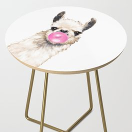 Bubble Gum Sneaky Llama Side Table