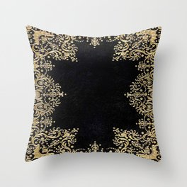 Black and Gold Filigree Throw Pillow