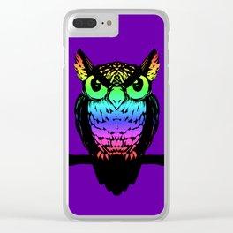 Rainbow Owl Clear iPhone Case