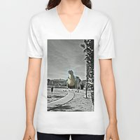 t rex V-neck T-shirts featuring T Rex by sepulveda89