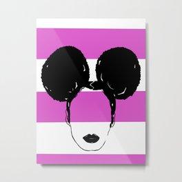 Afro Puffs (pink) Metal Print