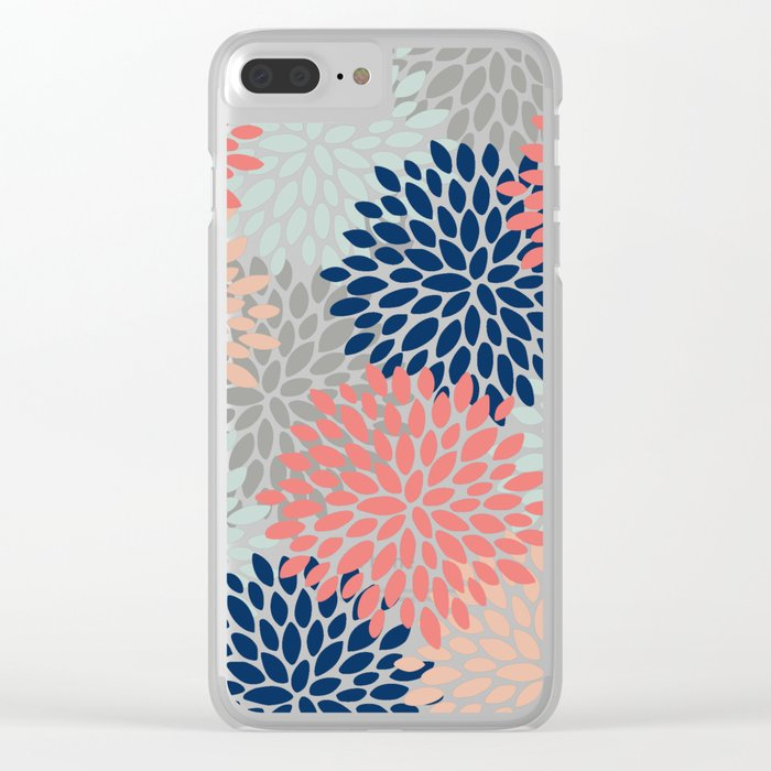 Floral Bloom Print, Living Coral, Pale Aqua Blue, Gray, Navy Clear iPhone Case