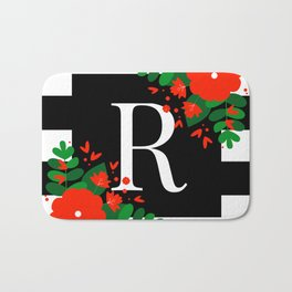 R - Monogram Black and White with Red Flowers Bath Mat