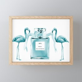 Teal flamingos with perfume Framed Mini Art Print