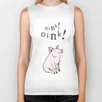 pig Biker Tanks featuring Pig by Emily Stalley