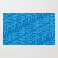 video game Area & Throw Rugs featuring Video Game Controllers - Blue by C.Rhodes Design