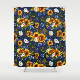 Modern yellow orange blue watercolor sunflower floral pattern Shower Curtain