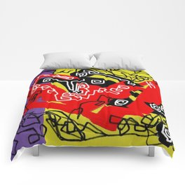 Abstract violet red yellow black Comforters